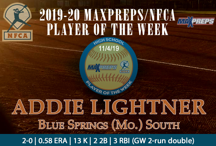 maxpreps, nfca, maxpreps/nfca high school player of the week, Addie lightner, Blue Springs South High School
