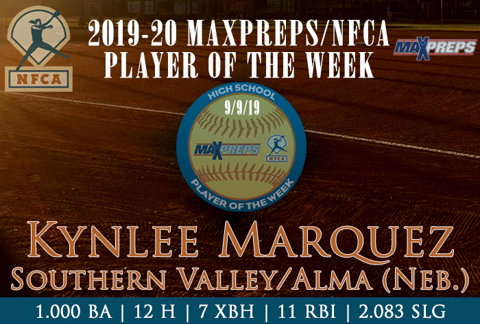 Southern Valley/Alma's Marquez named 2019-20 Fall MaxPreps/NFCA National High School Player of Week