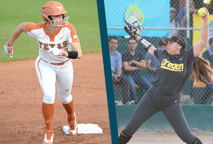 NFCA, Louisville Slugger, Wilson, Louisville Slugger/NFCA Division I Player of the Week, Wilson/NFCA Division I Pitcher of the Week,  Miranda Elish, Texas, Brooke Yanez, Oregon