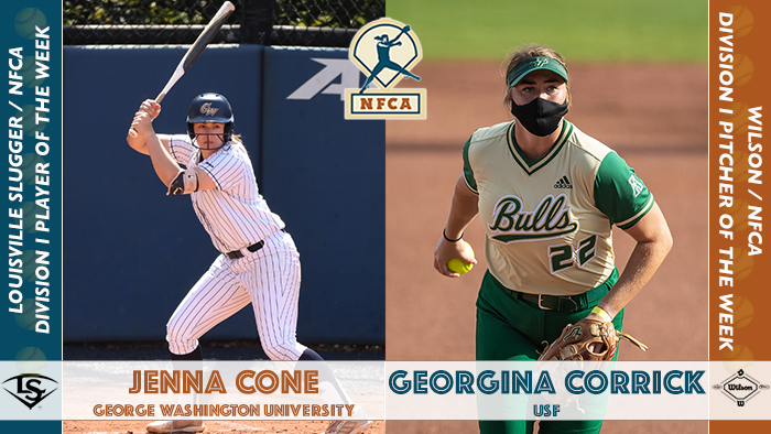 nfca player of the week, nfca pitcher of the week, nfca, Louisville slugger/nfca player of the week, wilson/nfca pitcher of the week, ncaa softball player of the week, ncaa softball pitcher of the week, ncaa player of the week, ncaa pitcher of the week, Jenna Cone, George Washington, Jenna Cone George Washington, GW Softball, George Washington Softball, Georgina Corrick, USF softball, USF, Georgina corrick USF