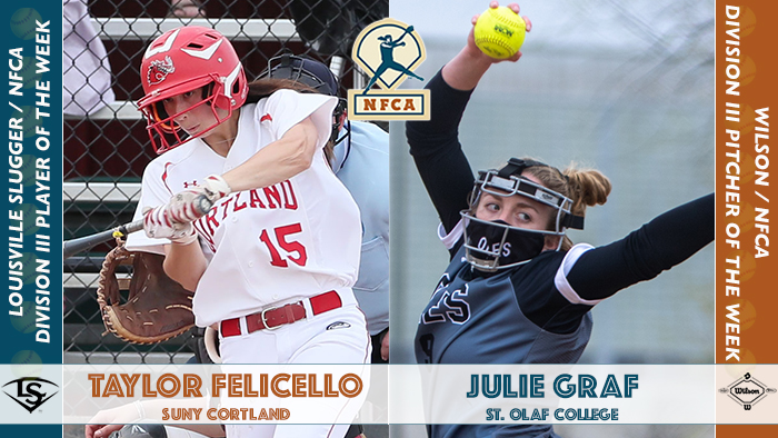 Felicello, Graf claim Wilson/Louisville Slugger NFCA Division III weekly honors